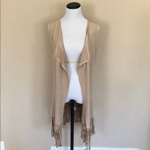 New Directions Fringe Open Draped Vest Cardigan